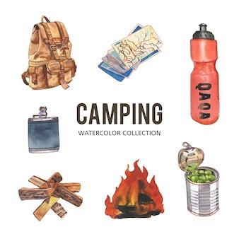 キャンプの創造的な水彩イラストのセット