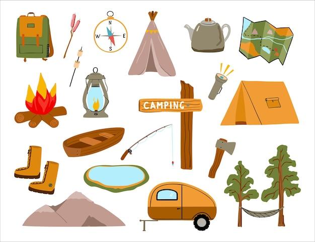 漫画のスタイルでハイキングやアウトドアレクリエーションの手描きアイコンのキャンプ用品のセット
