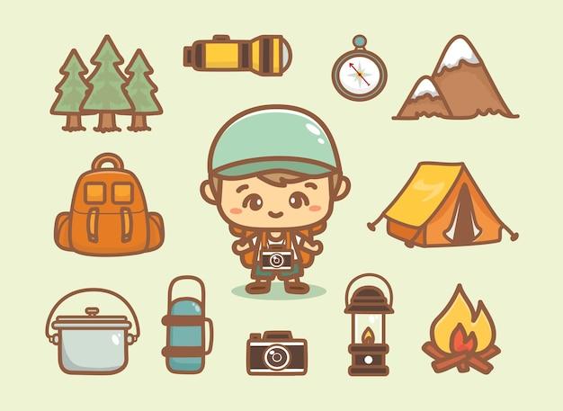 캠핑 재료 세트입니다. 손으로 그린 귀여운 소년, 텐트, 모닥불, 나무, 카메라 및 기타 요소. 만화 벡터입니다.