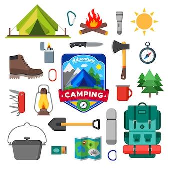 キャンプの野外活動アイコンのセットです。観光キャンプ用品コレクション。孤立した図