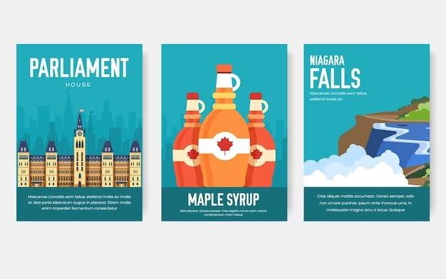 カナダの国飾り旅行旅行のセット。伝統的な芸術、雑誌、本、バナー、要素。