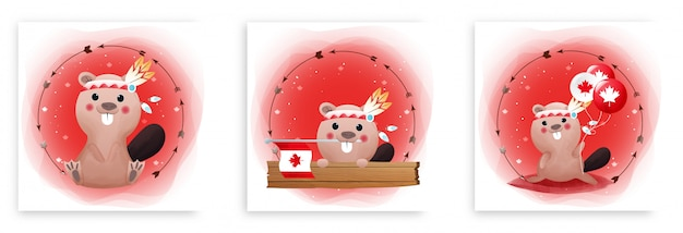 かわいいビーバーと赤と白の背景にカナダの旗とカナダの日カードのセット。ハッピーカナダデー。