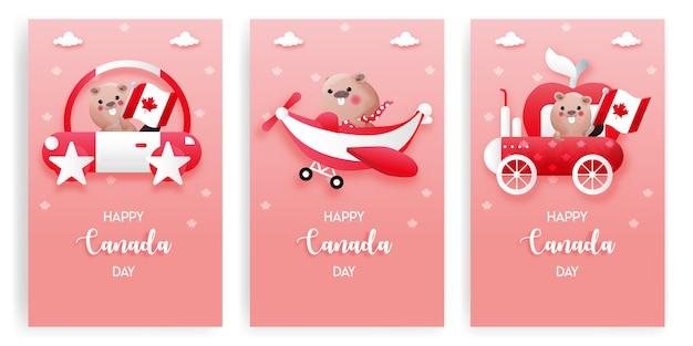 赤と白の背景でかわいいビーバーとカナダの日カードのセット。幸せなカナダの日。