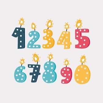 생일 파티를 위한 초 세트