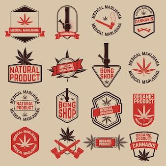 大麻ラベルのセット。医療用マリファナ、ボンショップ。ロゴ、ラベル、エンブレム、記号、ブランドマークのデザイン要素。