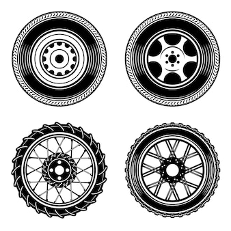 車やバイクのホイールのアイコンのセットです。ロゴ、ラベル、エンブレム、記号の要素。図