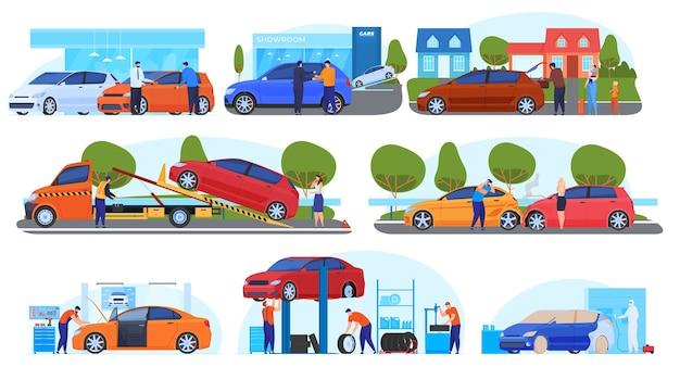 車のイラスト、購入、販売、旅行、事故、避難、修理、塗装のセット。図