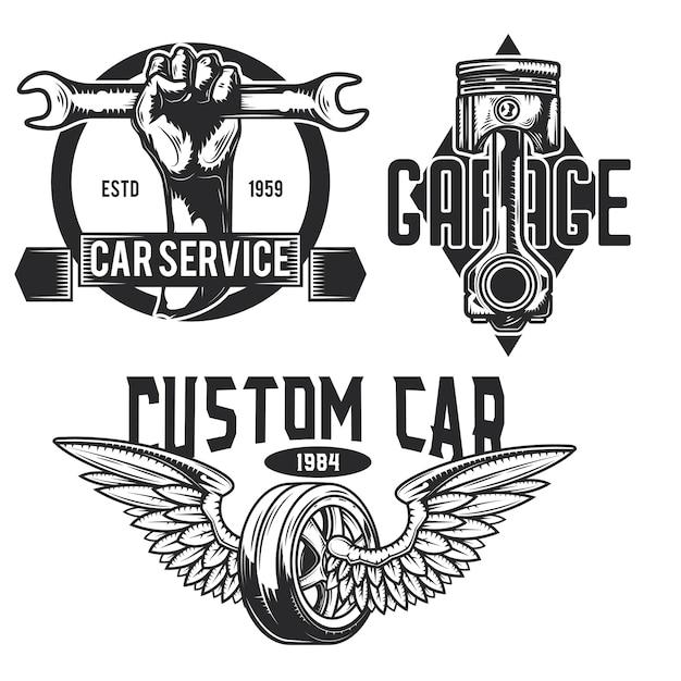 車のサービスのエンブレム、ラベル、バッジ、ロゴのセット。