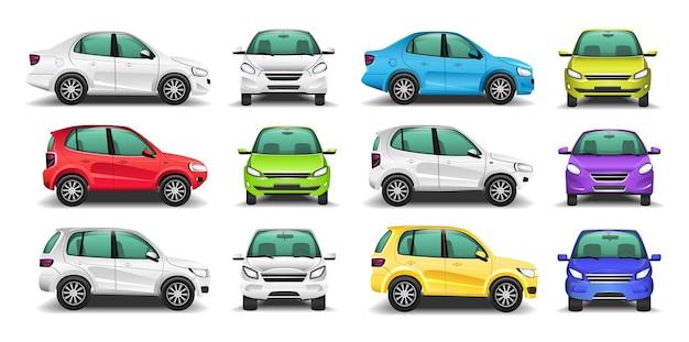 자동차 측면 및 전면보기 벡터의 집합입니다.
