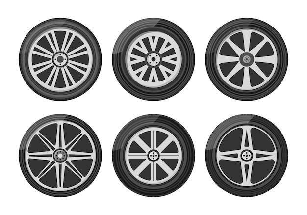 Набор иконок автомобильных колес. колесная шина для автомобиля и мотоцикла и грузовика и внедорожника.