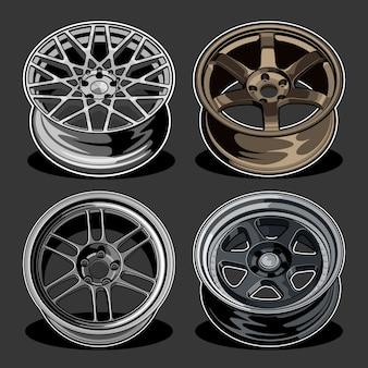 Набор автомобильных колес иллюстрации