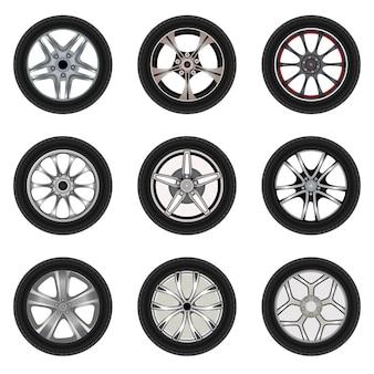 Набор автомобильных колес с разным стилем