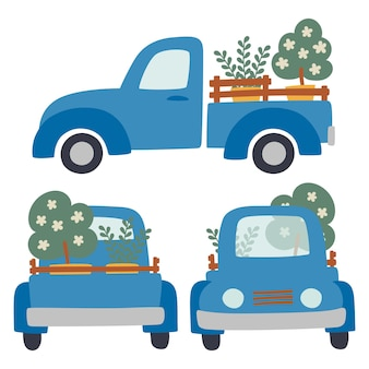 トレーラーと貨物アイコンベクトルと車のセットです。製品の輸送および輸送のための農業機械。植樹と植物のコンセプト。