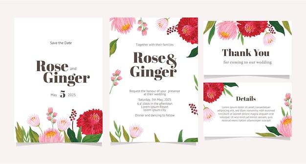 결혼식, 파티, 약혼에 대 한 손으로 그린 꽃 일러스트와 함께 카드 레이아웃의 집합입니다.
