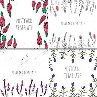 カードテンプレートのセット。手描きのスタイル。植物と抽象