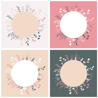 Набор шаблонов карт с цветочными элементами. векторные иллюстрации.