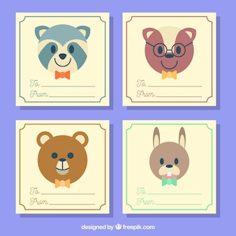 나비 넥타이 착용하는 동물들과 함께 카드 세트