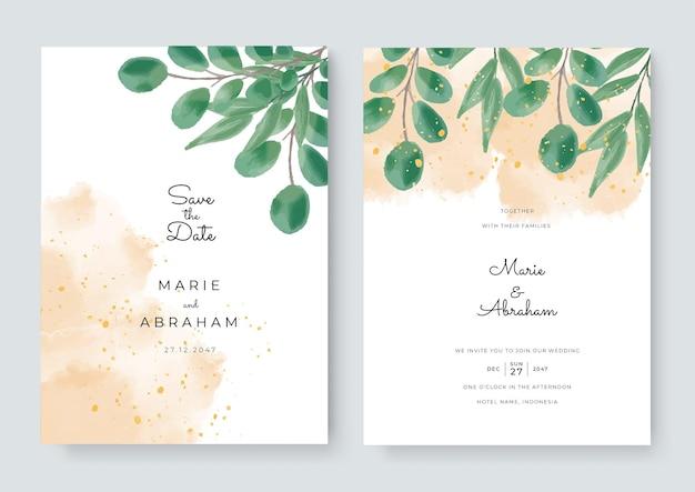 꽃이 있는 카드 세트는 수채화를 남깁니다. 웨딩 장식 개념입니다. 꽃 포스터, 초대합니다. 벡터 장식 인사말 카드 또는 초대장 디자인 배경입니다. 꽃 장식으로 브러시 수채화