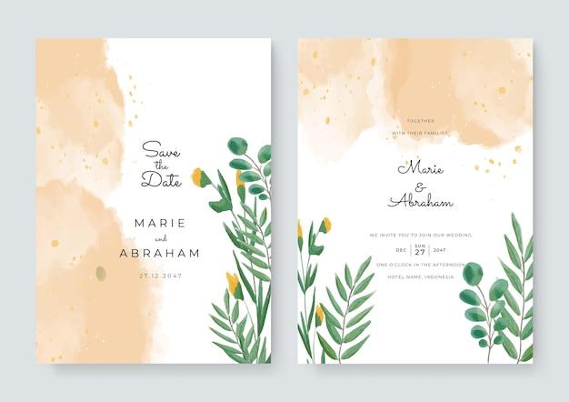 花とカードのセット、水彩画を残します。結婚式の飾りのコンセプト。花のポスター、招待。ベクトル装飾的なグリーティングカードまたは招待状のデザインの背景。花の装飾が施されたブラシ水彩