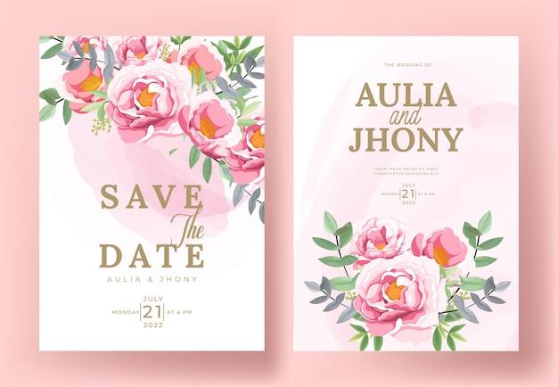Набор карт с цветочными пионами, листьями. концепция свадебного украшения.