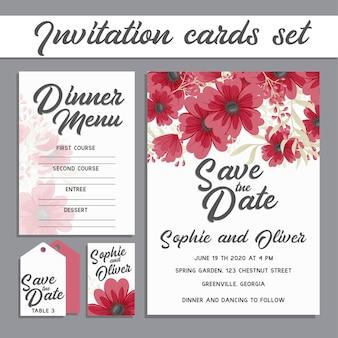 Набор карт с цветком розы, листья. Концепция свадебного украшения.