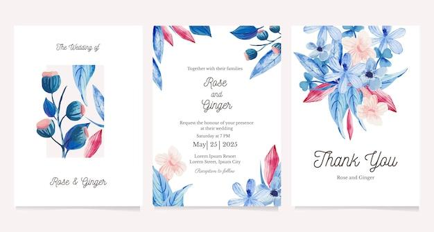 수채화 꽃과 카드의 집합입니다. 인사말 카드, 청첩장 디자인 서식 파일