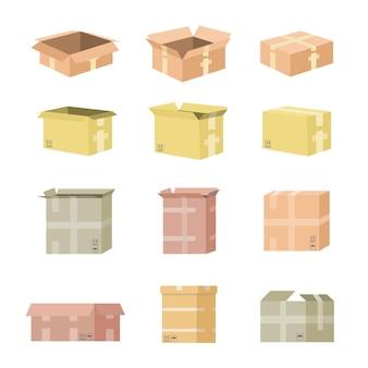 Набор картонной коробки Premium векторы