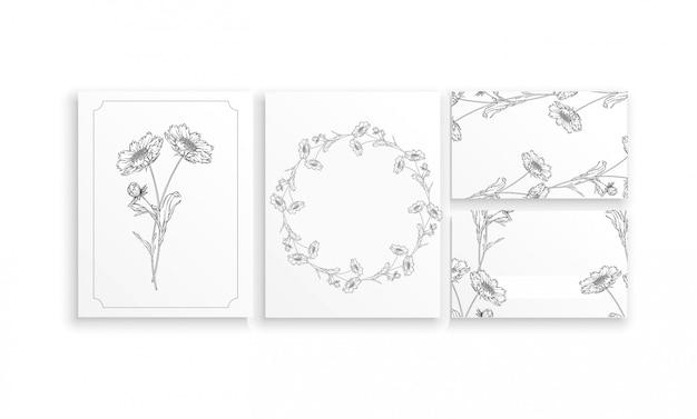 Набор карточек и визиток с графическими цветочными композициями с цветами ромашки