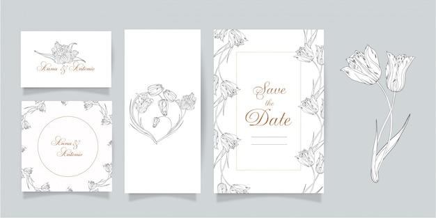 카드와 꽃 초대장의 집합입니다. 봄 꽃. 튤립