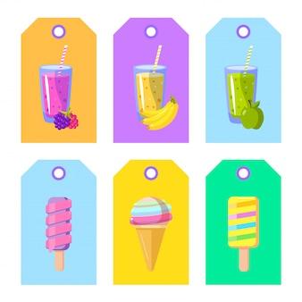 Набор карточек-баннеров-ярлыков на упаковке с мультяшным мороженым и смузи Premium векторы