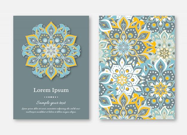 Набор открыток, листовок, брошюр, шаблонов с рисованной мандой