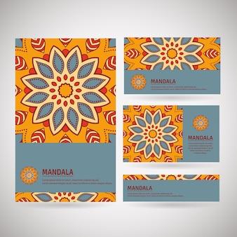 Набор карточек, листовок, брошюр, шаблонов с рисунком мандалы рисованной. винтажный восточный стиль. индийский, азиатский, арабский, исламский, османский мотив.