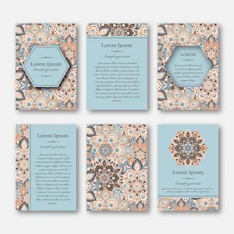 Набор карточек, листовок, брошюр с мандалы.