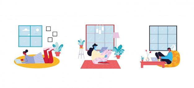 Набор карточек людей, работающих из ее дома