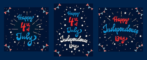 7月4日のカード、ポスター、印刷物のセット
