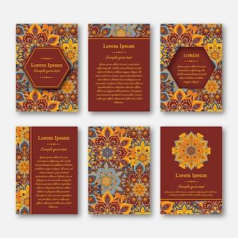 Набор шаблонов карт с образцом текста и дизайна мандалы. восточный стиль.
