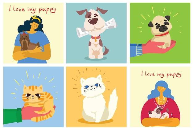 플랫 스타일의 고양이와 개 카드 세트