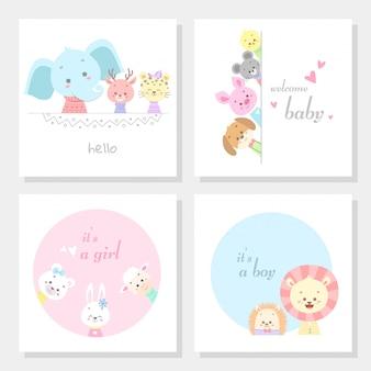 Набор карточек с милыми животными линии искусства векторная иллюстрация