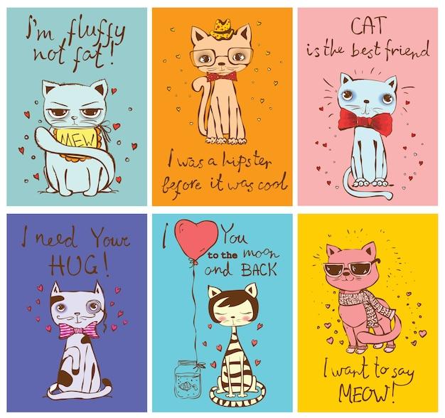 귀여운 고양이와 만화 스타일의 손으로 그린 재미 있은 고양이 텍스트 카드 세트