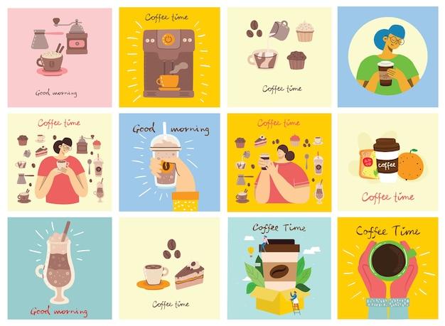 Набор карточек руками держит чашку горячего черного темного кофе или напитка, люди пьют кофе с тортом, с рукописным текстом, простой плоской красочной теплой иллюстрацией.