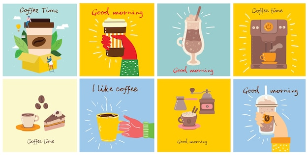 Набор карточек руками держит чашку горячего черного темного кофе или напитка, с рукописным текстом, простой плоской красочной теплой иллюстрацией.