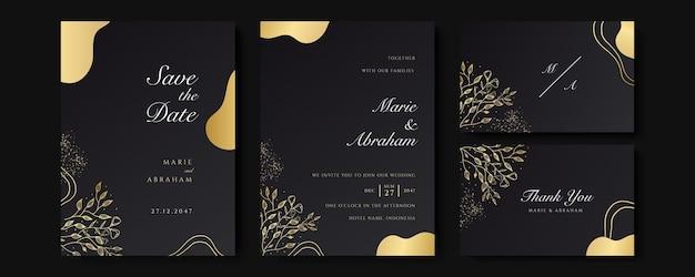 線画の花の装飾が施されたカードのセットです。豪華な金の熱帯の葉と黒の背景の結婚式の招待状のテンプレートデザイン。日付、イベント、表紙、ベクトルを保存するための植物イラスト