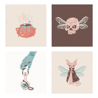 Набор карточек с мистическими элементами. день мертвых. рука рисовать каракули иллюстрации