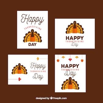 추수 감사절 터키와 카드 세트