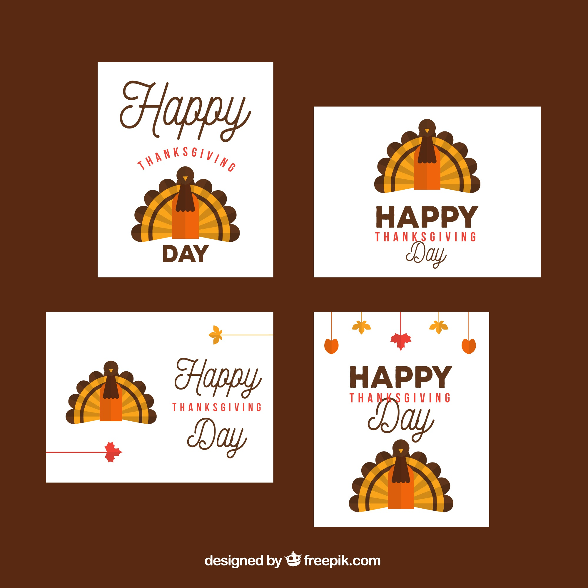 Set of cards with thanksgiving turkey