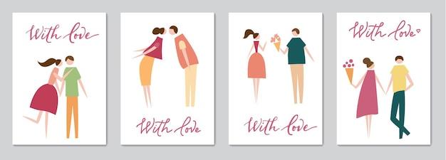 Набор карточек с векторной иллюстрацией влюбленной пары и надписи. силуэт романтических людей