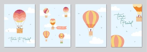 Набор карточек с векторной иллюстрацией пейзажа с воздушными шарами в небе