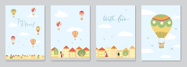 空の熱気球と風景のベクトルイラストとカードのセット