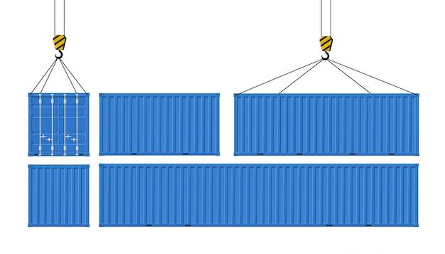 상품 운송을위한화물 컨테이너 세트. 크레인은 파란색 컨테이너를 들어 올립니다. 전세계 배송의 개념.