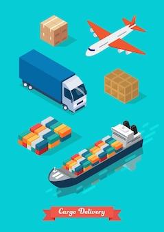 Набор грузовых перевозок изометрической проекции. плоский дизайн векторные иллюстрации